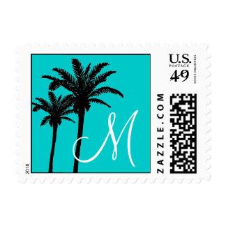 Aqua Monogram Palm Trees Wedding Postage Stamps
