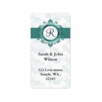 aqua monogram return address label