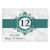 aqua monogram table seating card