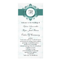 aqua monogram Wedding program