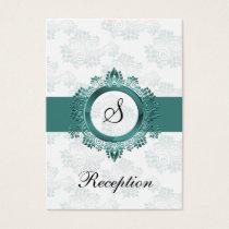 aqua monogram wedding Reception Cards