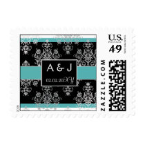 aqua monogram wedding stamps
