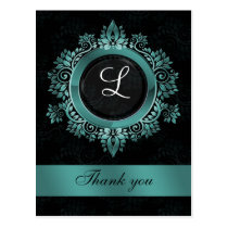 aqua monogram wedding thank you postcard