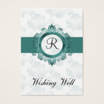 aqua monogram wishing well cards