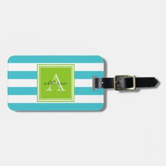 Aqua Monogrammed Awning Stripe Bag Tag