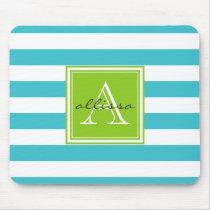 Aqua Monogrammed Awning Stripe Mouse Pad