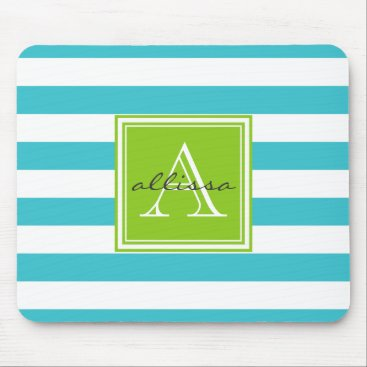 Beach Themed Aqua Monogrammed Awning Stripe Mouse Pad