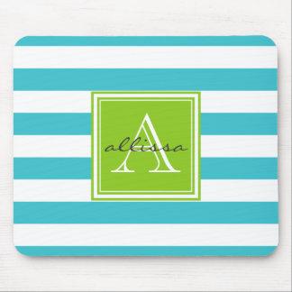 Aqua Monogrammed Awning Stripe Mousepads