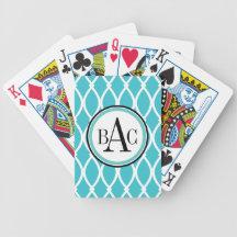 Aqua Monogrammed Barcelona Print Bicycle Card Deck