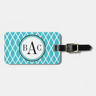 Aqua Monogrammed Barcelona Print Travel Bag Tags