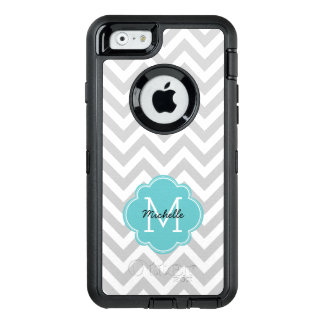 Aqua Monogrammed Chevrons Pattern OtterBox Defender iPhone Case