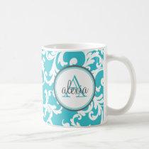 Aqua Monogrammed Damask Print Coffee Mug