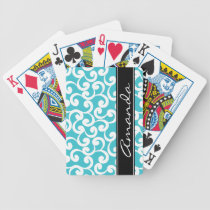 Aqua Monogrammed Elements Print Bicycle Playing Cards