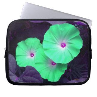 Aqua Morning Glories Laptop Sleeve