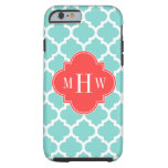 Aqua Moroccan #5 Coral Red 3 Initial Monogram Tough iPhone 6 Case