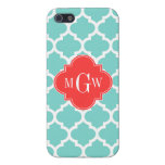 Aqua Moroccan #5 Coral Red 3 Initial Monogram Cases For iPhone 5