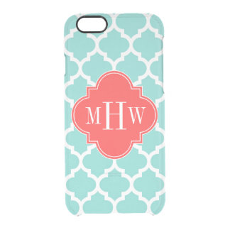 Aqua Moroccan #5 Coral Red 3 Initial Monogram Clear iPhone 6/6S Case