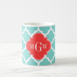 Aqua Moroccan #5 Coral Red 3 Initial Monogram Coffee Mug