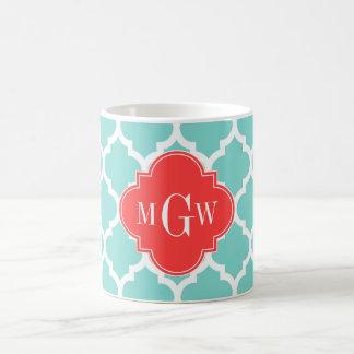Aqua Moroccan #5 Coral Red 3 Initial Monogram Classic White Coffee Mug