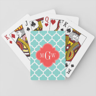 Aqua Moroccan #5 Coral Red 3 Initial Monogram Playing Cards