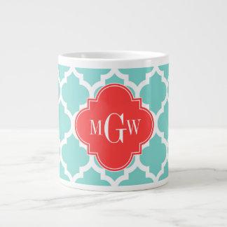 Aqua Moroccan #5 Coral Red 3 Initial Monogram 20 Oz Large Ceramic Coffee Mug