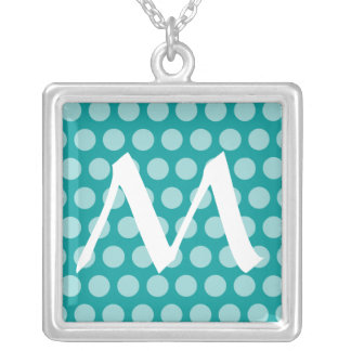 Aqua Moroccan Dots with monogram Silver Plated Necklace