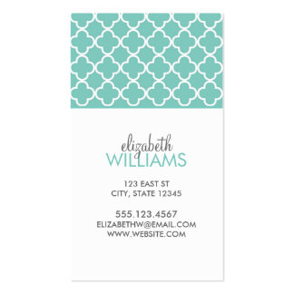 Aqua Moroccan Quatrefoil Pattern Double-Sided Standard Business Cards (Pack Of 100)
