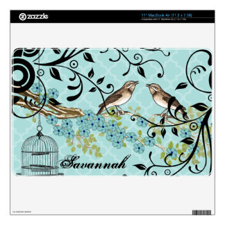 Aqua Moroccan Tile Birdcage MacBook Air Skin