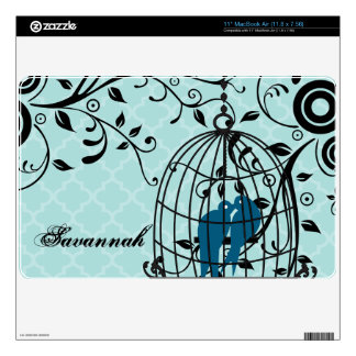 Aqua Moroccan Tile Love Birds MacBook Air Skin