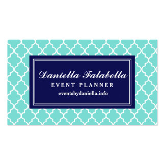 Aqua Moroccan Tiles Lattice Personalized Double-Sided Standard Business Cards (Pack Of 100)