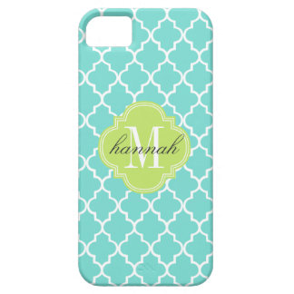 Aqua Moroccan Tiles Lattice Personalized iPhone SE/5/5s Case