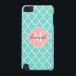 "Aqua Moroccan Tiles Lattice Personalized iPod Touch (5th Generation) Case<br><div class=""desc"">Elegant aqua Moroccan tiles lattice pattern. Personalize it with your name or monogram initials.  Click on the &quot;customize it&quot; button for further customization options. Choose font style and color.</div>"