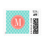 Aqua Moroccan Tiles Lattice Personalized Postage Stamp