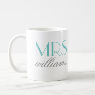 Aqua Mrs. Coffee Mug | Bride-to-Be Gift