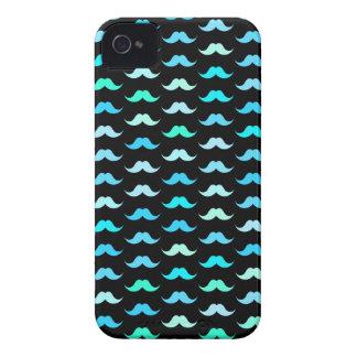 Aqua Mustaches Black iPhone 4 Case