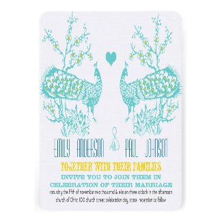 Aqua & Mustard Yellow Peacock Wedding Invitations