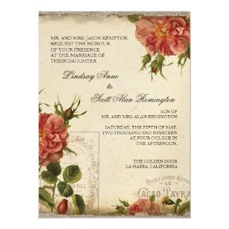 Aqua n Cream Vintage Eiffel Tower Rose Wedding 5.5x7.5 Paper Invitation Card