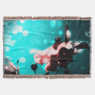 Aqua N Pink Retro Sunflower Throw Blanket