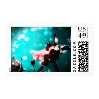 Aqua N Pink Sinflower N Bee Postage