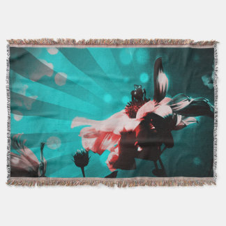 Aqua N Pink Sunflower Rays Throw Blanket
