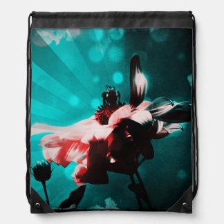 Aqua N Pink Sunflowers N Bee Drawstring Backpack