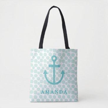 Beach Themed Aqua Nautical Anchor with Dots Pattern Tote Bag