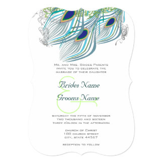 Aqua Navy Blue Peacock Art Deco Die Cut 5x7 Paper Invitation Card