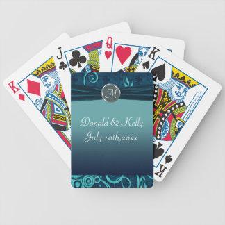 Aqua & Navy Blue Velvet Wedding Swirl Bicycle Card Decks