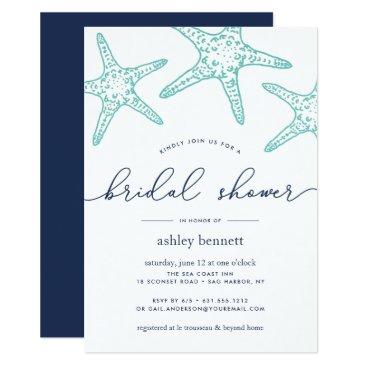 Beach Themed Aqua & Navy Starfish Bridal Shower Invitation