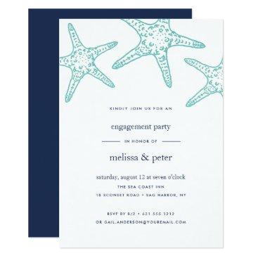Beach Themed Aqua & Navy Starfish Engagement Party Invitation