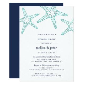 Aqua & Navy Starfish Rehearsal Dinner Invitation