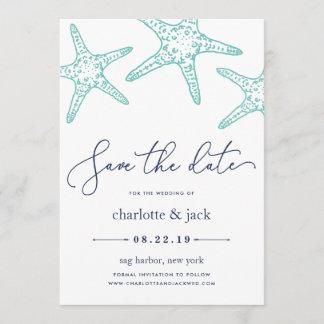 Aqua & Navy Starfish Save the Date Card