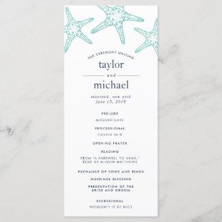 Aqua & Navy Starfish Wedding Ceremony Program