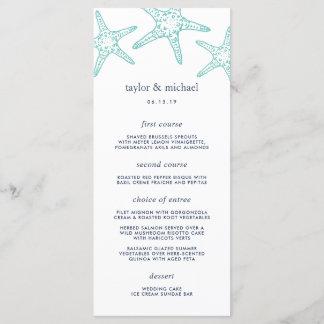 Aqua & Navy Starfish Wedding Menu Card